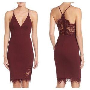 ASTR Peeking Lace Bodycon Halter Dress